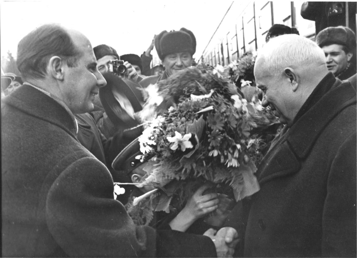 Н.Н.Родионов, Д.А.Кунаев, Н.С.Хрущев.1962 г.Алма-Ата