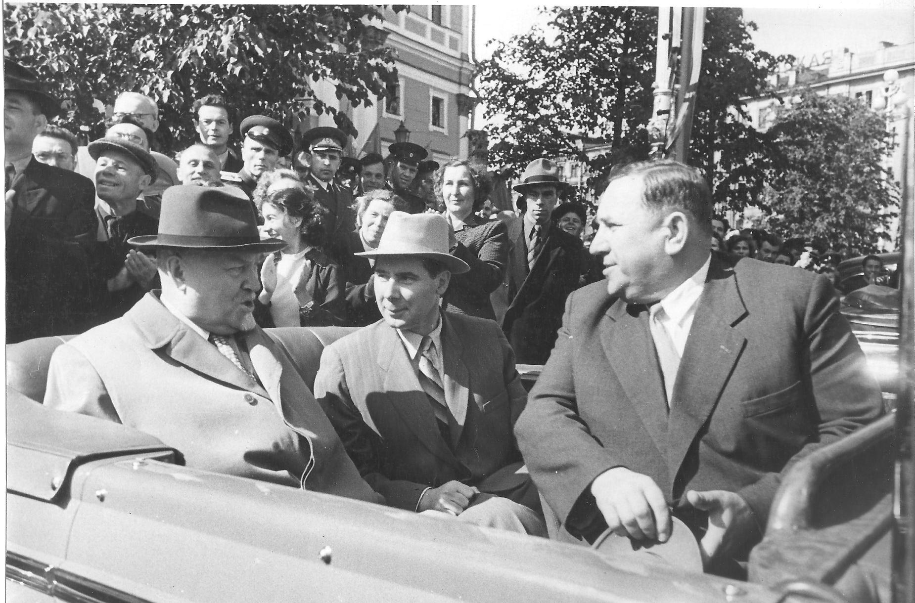 Н.А.Булганин, Н.Н.Родионов, Н.И.Смирнов. 1957 г. Ленинград